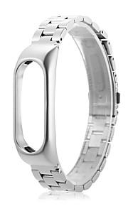 pulseira de relógio de pulso de aço inoxidável pulseira pulseira para xiaomi mi band 2 -silver
