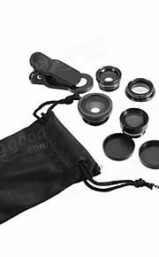 5-em-1 jogo de olho de peixe grande angular marco lente de telefoto cpl lente para iphone 7 6 / 6s mais preto