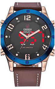 OHSEN Homens Relógio de Moda Relógio de Pulso Relógio Casual Japanês Quartzo LCD Couro Banda Legal Casual Luxuoso Marrom
