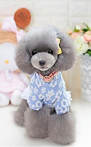 Chat Chien Robe Vêtements pour Chien Soirée Décontracté / Quotidien Garder au chaud Halloween Noël Floral/Botanique Bleu Rose