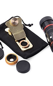 10x multi-funcional 4 in1 câmera externa lente grande angular macro fisheye telefoto para telefone celular (ouro)