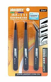 3 en 1 kit de pinzas antiestáticas resistente al calor pinzas curvas acentuadas planas fijas para la reparación del pcb del ordenador