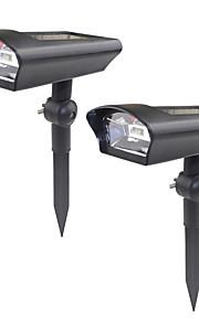 2pcs falsk kamera sikkerhet solpanel strøm lys outoodr svart abs vegg lys vanntett for hus