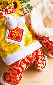 Chat Chien Manteaux Combinaison-pantalon Vêtements pour Chien Cosplay Nouvel An Couleur Pleine Jaune Bleu