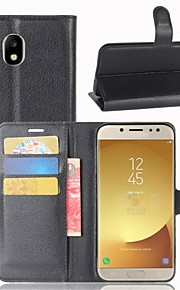 For Case Cover Card Holder Wallet Flip Full Body Case Solid Color Hard PU Leather for Samsung Galaxy J7 (2016) J7 (2017) J7 J5 (2016) J5