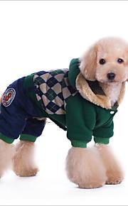 Gato Cachorro Casacos Camisola com Capuz Macacão Roupa à prova de frio Roupas para Cães Algodão Primavera/Outono Inverno Casual Mantenha