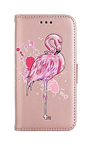 fodral Till Samsung Galaxy J5 (2017) J3 (2017) Plånbok Korthållare med stativ Lucka Mönster Heltäckande Flamingo Hårt Konstläder för J5