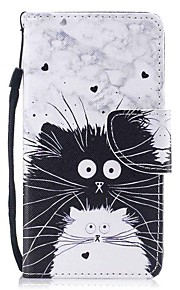 Case For Apple Ipod Touch5 / 6 Case Cover Card Holder Wallet with Stand Flip Pattern Full Body Case  Black and White Cats Hard PU Leather