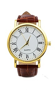 Men's Casual Watch Chinese Quartz Leather Band Casual Black
