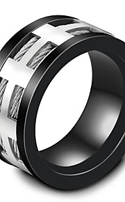 Men's Band Rings Fashion Vintage Titanium Steel Circle Cross Jewelry For Wedding Evening Party