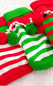 gato cão suéteres roupas de cachorro novo casual / diariamente manter quente natal listra verde vermelho branco
