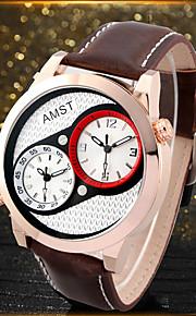 Homens Relógio de Moda Quartzo Impermeável Noctilucente Couro Banda Luxo Legal Preta Marrom