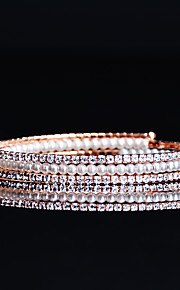 Women's Tennis Bracelet Pearl Rhinestone Adorable Elegant Cubic Zirconia Rose Gold Plated Circle Jewelry For Wedding Evening Party