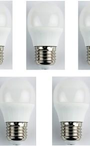 5pcs 4W E27 LED-globepærer G45 6 leds SMD 3528 Varm hvit 310lm 3000K AC 180-240V