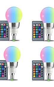 4 stk 3w e14 / e27 rgb ledet pære 16 farger magisk led natt lys dimbar scene lys fjernkontroll ac85-265v