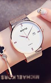 Dames Unisex Kwarts Gesimuleerd Diamant Horloge Polshorloge Japans Kalender Roestvrij staal Band minimalistische Modieus Cool Zwart Zilver