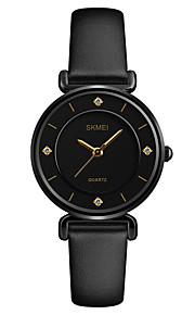 SKMEI Mulheres Quartzo Relógio de Pulso Japanês Impermeável imitação de diamante Relógio Casual Couro Banda Luxo Casual Fashion Preta