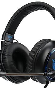 SADES R5 머리띠 유선 헤드폰 동적 플라스틱 게임 이어폰 마이크 포함 헤드폰