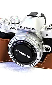 Dengpin Leather Half Camera Case Bag Cover Base for Olympus E-M10 Mark III (Assorted Colors)