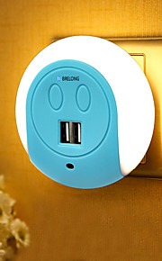 brelong led night light двойной USB-порт настенный зарядный датчик света 2a 110-240v us