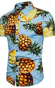 Ανδρικά Πουκάμισο Παραλία Βαμβάκι Φρούτα Κλασσικός γιακάς Ανανάς Λευκό XL / Κοντομάνικο / Καλοκαίρι
