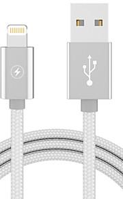תאורה מתאם כבל USB נייד תשלום מהיר עבור iPhone 100 cm פלסטיק ניילון