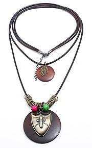 Męskie Rybki Kształt Steampunk Wyrazista biżuteria Rock Warstwy Naszyjniki , Drewniany Sznur Stop Warstwy Naszyjniki Maskarada Bar