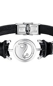 Herre Læder Armbånd Mode Rustfrit Stål Læder Sort Uregelmæssig Smykker Daglig Kostume smykker