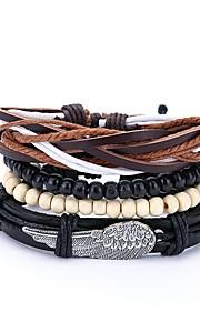 Herre Wrap Armbånd , Vintage Afslappet Læder Sort Uregelmæssig Smykker Daglig Skolebal Kostume smykker