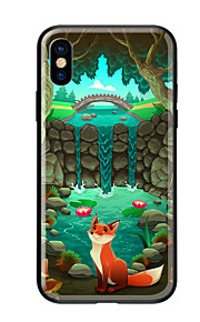 Case For Apple iPhone X iPhone 8 Pattern Back Cover Scenery Animal Hard Tempered Glass for iPhone X iPhone 8 Plus iPhone 8 iPhone 7
