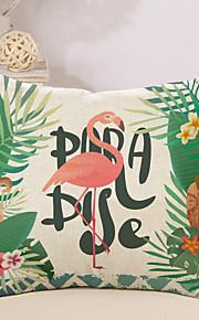 1 Stk. Bomuld/Linned Pudebetræk Nyskabende Puder, Flamingo Klassisk Citater & udtryk Afslappet/Hverdag Tropisk