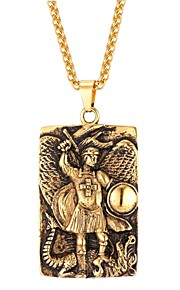 Herre Dame Rustfrit Stål Halskædevedhæng - Mode Geometrisk form Guld Sort Sølv 55cm Halskæder Til Daglig