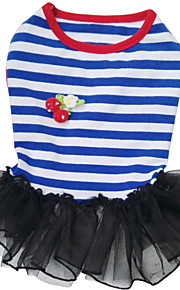 Dogs / Cats Dress Dog Clothes Striped / Voiles & Sheers / Flower / Floral Red / Blue Cotton / Linen Blend Costume For Pets Female Stylish