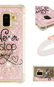 Case For Samsung Galaxy A8 2018 / A8 Plus 2018 Shockproof / Flowing Liquid / Pattern Back Cover Word / Phrase / Glitter Shine Soft TPU for