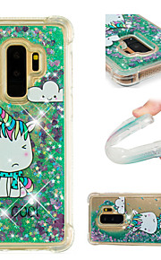 Case For Samsung Galaxy S9 / S9 Plus Shockproof / Flowing Liquid / Pattern Back Cover Unicorn / Glitter Shine Soft TPU for S9 Plus / S9 /