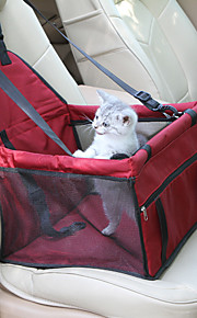 Cat / Dog Car Seat Cover Pet Carrier Waterproof / Portable / Adjustable / Retractable Solid Colored Red / Blue / Pink