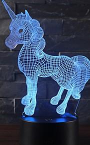 جميلة هدية رومانسية يونيكورن 3d بقيادة مصباح طاولة 7 تغيير لون ضوء الليل غرفة ديكور بريقا عطلة صديقة الاطفال اللعب