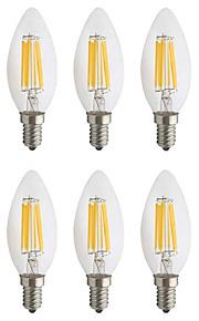 6 W LED Λάμπες Πυράκτωσης 560 lm E14 C35 6 LED χάντρες COB Πάρτι Διακοσμητικό Χριστουγεννιάτικη διακόσμηση γάμου Θερμό Λευκό Ψυχρό Λευκό 220-240 V, 6pcs