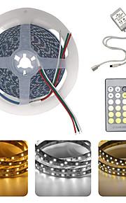 BRELONG® 5m Ευέλικτες LED Φωτολωρίδες 600 LEDs SMD5025 1 24Keys Τηλεχειριστήριο Θερμό Λευκό / Άσπρο Μπορεί να κοπεί / Πάρτι / Διακοσμητικό 12 V 1pc