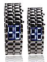검은 금속 스트립 디지털 용암 스타일의 철 스포츠 커플 블루 신원 미상 손목 시계를 주도