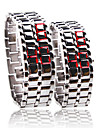 Silvery Metal Strip Digital Lava Style Iron Sport Couple Red LED Faceless Wrist Watch