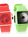 패션 실리콘 밴드 손목 시계의 쌍 (녹색과 적색)