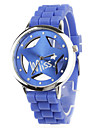 Hollow Out Star Pattern Design Unisex Quartz Wrist Watch with Crystal Decoration - Blue