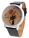 Мультфильм женщин Cat Pattern черный PU Группа Кварцевые аналоговые наручные часы