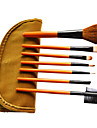 7 Pcs Wool Makeup Brush Set with Free Brown Leather Pouch