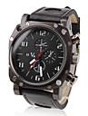 V6 남성용 밀리터리 시계 손목 시계 석영 일본 쿼츠 PU 밴드 블랙