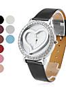 여성의 패션 심장 모양의 PU 밴드 석영 손목 시계 (분류 된 색깔)