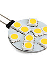 1W G4 LED à Double Broches 9 LED SMD 5050 Blanc Chaud 250-300lm 3000K DC 12V