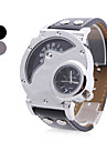 Men's Military Style 2 Time Zones Round Case PU Band Quartz Wrist Watch (Assorted Colors) Cool Watch Unique Watch