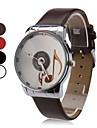 quartz analogique musical de modèle de note cadran PU bande de montre-bracelet des femmes (couleurs assorties)